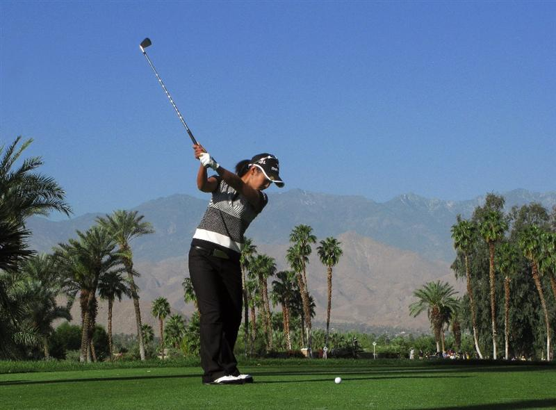 RANCHO MIRAGE, CA - APRIL 2:  Ai Miyazaki of japan hits her tee shot on the 14th hole during the first round of the Kraft Nabisco Championship at Mission Hills Country Club on April 2, 2009 in Rancho Mirage, California.  (Photo by Stephen Dunn/Getty Images)