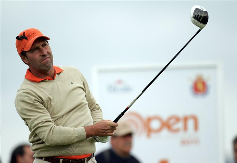 BARCELONA, SPAIN - MAY 07:  Jose Maria Olazabal of Spain wears a black ribbon on the first tee, following news of the death of Seve Ballesteros, during the third round of the Open de Espana at the Real Club de Golf El Prat on May 7 , 2011 in Barcelona, Spain.  (Photo by Ross Kinnaird/Getty Images)