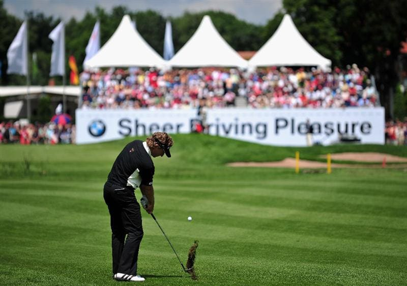 MUNICH, GERMANY - JUNE 26:  Bernhard Langer of Germany plays his approach shot on the nineth hole during the second round of The BMW International Open Golf at The Munich North Eichenried Golf Club on June 26, 2009, in Munich, Germany.  (Photo by Stuart Franklin/Getty Images)