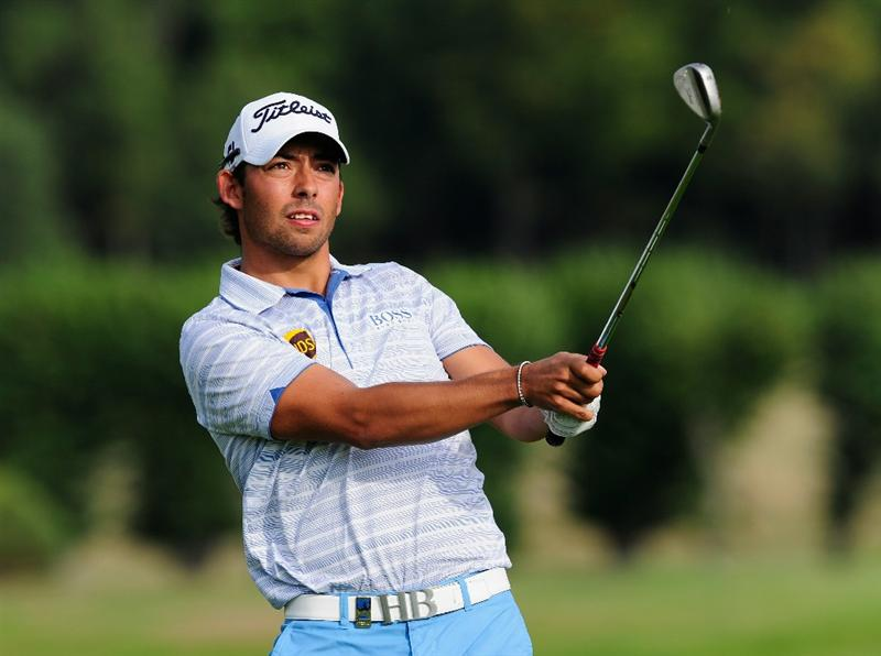 PARIS - SEPTEMBER 23:  Pablo Larrazabal of Spain plays his approach shot on the 14th hole during the first round of the Vivendi cup at Golf de Joyenval on September 22, 2010 in Chambourcy, near Paris, France.  (Photo by Stuart Franklin/Getty Images)