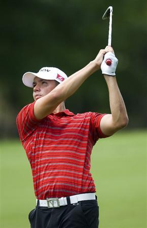 RALEIGH, NC - MAY 29: Bradley Iles watches his approach shot on the eighth hole during the second round of the Rex Hospital Open Nationwide Tour golf tournament at the TPC Wakefield Plantation on May 29, 2009 in Raleigh, North Carolina. (Photo by Chris Keane/Getty Images)