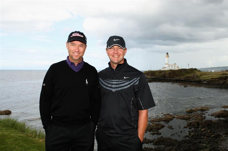 TURNBERRY, SCOTLAND - JULY 14:   Davis Love III and Lucas Glover (R) of USA pose for a photo during a practice round prior to the 138th Open Championship on the Ailsa Course, Turnberry Golf Club on July 14, 2009 in Turnberry, Scotland. (Photo by Warren Little/Getty Images)