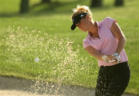REUNION, FLORIDA - APRIL 18:  Stephanie Sparks from the Golf Channel plays a bunker shot on the seventh hole during the second round of the Ginn Open at Reunion Resort on April 18, 2008 in Reunion, Florida.  (Photo by Scott Halleran/Getty Images)