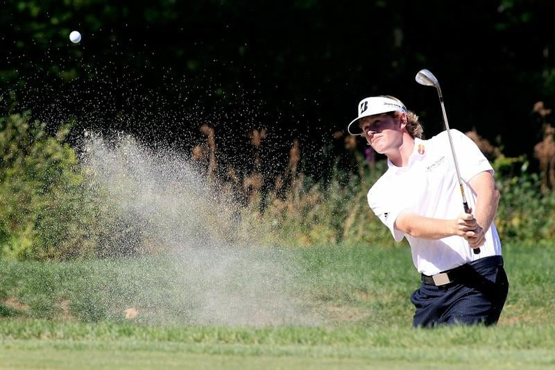 NORTON, MA - SEPTEMBER 06:  Brandt Snedeker hits a shot on the second hole during the final round of the Deutsche Bank Championship at TPC Boston on September 6, 2010 in Norton, Massachusetts.  (Photo by Michael Cohen/Getty Images)