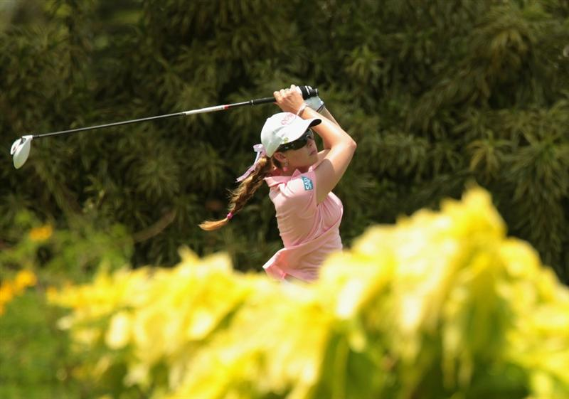 SINGAPORE - FEBRUARY 27:  Paula Creamer of the USA hits her tee shot on the 15th hole during the final round of the HSBC Women's Champions 2011 at the Tanah Merah Country Club on February 27, 2011 in Singapore, Singapore.  (Photo by Scott Halleran/Getty Images)