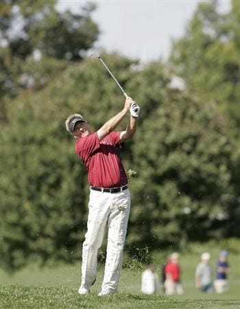 TIMONIUM, MD - OCTOBER 04: John Cook hits his second shot on the sixth hole during the final round of the Constellation Energy Senior Players Championship at Baltimore Country Club/Five Farms (East Course) held on October 4, 2009 in Timonium, Maryland (Photo by Michael Cohen/Getty Images)