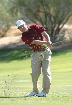 SCOTTSDALE, AZ - OCTOBER 21:  Carl Pettersson hits hsi approach shot to the 10th green during the fourth and final round of the Fry's Electronics Open on October 21, 2007at the Grayhawk Golf Club in Scottsdale, Arizona  (Photo by Marc Feldman/Getty Images)