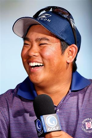 HONOLULU - JANUARY 17:  Tadd Fujikawa speaks with the Golf Channel following  the third round of the Sony Open at Waialae Country Club on January 17, 2009 in Honolulu, Hawaii.  (Photo by Sam Greenwood/Getty Images)