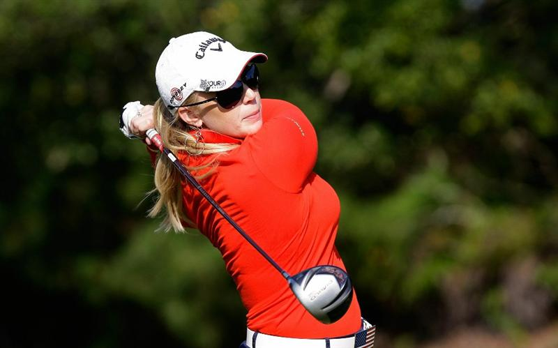 SHIMA, JAPAN - NOVEMBER 06:  Morgan Pressel of United States plays a shot on the 13th hole during round two of the Mizuno Classic at Kintetsu Kashikojima Country Club on November 6, 2010 in Shima, Japan.  (Photo by Chung Sung-Jun/Getty Images)