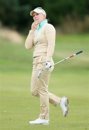 LYTHAM ST ANNES, UNITED KINGDOM - JULY 31:  Morgan Pressel of USA watches her second shot on the 13th hole during the second round of the 2009 Ricoh Women's British Open Championship held at Royal Lytham St Annes Golf Club, on July 31, 2009 in  Lytham St Annes, England. (Photo by David Cannon/Getty Images)