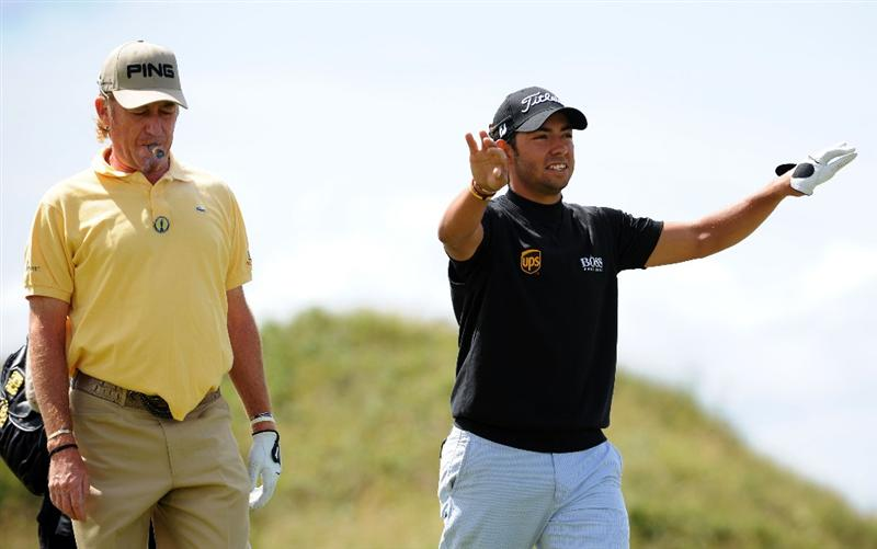 TURNBERRY, SCOTLAND - JULY 13:  Miguel Angel Jimenez and Pablo Larrazabal of Spain on the fourth hole during the practice round of the 138th Open Championship on July 13, 2009 on the Ailsa Course, Turnberry Golf Club, Turnberry, Scotland.  (Photo by Harry How/Getty Images)