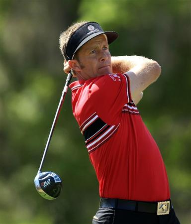 ORLANDO, FL - MARCH 23: Stuart Appleby of Australia and the Isleworth Team watches his tee shot on the 3rd hole during the second day's play in the 2010 Tavistock Cup, at the Isleworth Golf and Country Club on March 23, 2010 in Orlando, Florida.  (Photo by David Cannon/Getty Images)