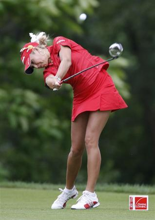 SYLVANIA, OH - JULY 03: Natalie Gulbis hits her drive on the ninth hole during the second round of the Jamie Farr Owens Corning Classic at Highland Hills Golf Club on July 3, 2009 in Sylvania, Ohio. (Photo by Gregory Shamus/Getty Images)