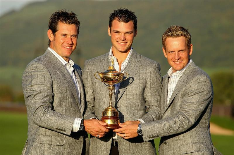 NEWPORT, WALES - OCTOBER 04:  (L-R) European Team members Lee Westwood, Martin Kaymer and Luke Donald pose with the Ryder Cup following Europe's 14.5 to 13.5 victory over the USA at the 2010 Ryder Cup at the Celtic Manor Resort on October 4, 2010 in Newport, Wales.  (Photo by Andy Lyons/Getty Images)