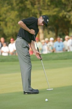 Nick O'Hern of the International team during the first round of The Presidents Cup at Robert Trent Jones Golf Club in Prince William County, Virginia on September 22, 2005.Photo by Chris Condon/PGA TOUR/WireImage.com