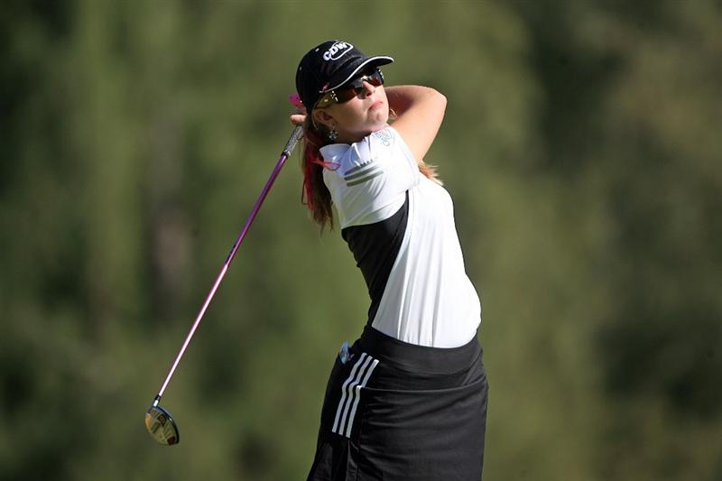 KAHUKU, HI - FEBRUARY 13:  Paula Creamer hits her tee shot on the 16th hole during the second round of the SBS Open on February 13, 2009 at the Turtle Bay Resort in Kahuku, Hawaii.  (Photo by Andy Lyons/Getty Images)