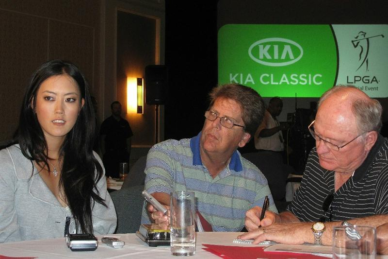 CITY OF INDUSTRY, CA - SEPTEMBER 18:  Michelle Wie speaks to the media at a press conference to announce the Kia Classic LPGA event to be held in March of 2011 on September 18, 2010 at Industry Hills Golf Club at Pacific Palms in City of Industry, California.  (Photo by Jeff Golden/Getty Images)