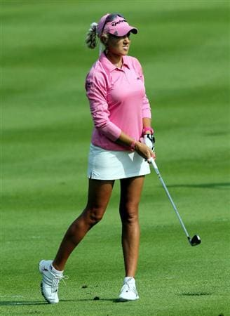 KUALA LUMPUR, MALAYSIA - OCTOBER 23 : Natalie Gulbis of USA watches her 2nd shot on the 1st hole during Round Two of the Sime Darby LPGA on October 23, 2010 at the Kuala Lumpur Golf and Country Club in Kuala Lumpur, Malaysia. (Photo by Stanley Chou/Getty Images)