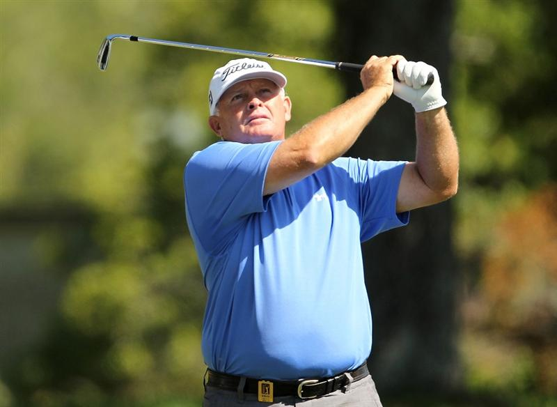 LUTZ, FL - APRIL 17: Peter Senior hits his tee shot on the  sixth hole during the final round of the Outback Steakhouse Pro-Am at the TPC of Tampa on April 17, 2011 in Lutz, Florida.  (Photo by Mike Ehrmann/Getty Images)