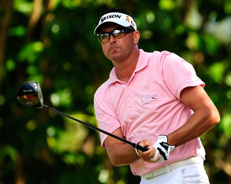 HONOLULU - JANUARY 17:  Robert Allenby of Australia plays a shot on the 5th hole during the final round of the Sony Open at Waialae Country Club on January 17, 2010 in Honolulu, Hawaii.  (Photo by Sam Greenwood/Getty Images)