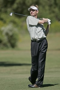 Brad Faxon hits his approach shot on the 14th hole during the second round of the Southern Farm Bureau Classic at Annandale Golf Club in Madison, Mississippi, on September 29, 2006. Photo by Hunter Martin/WireImage.com