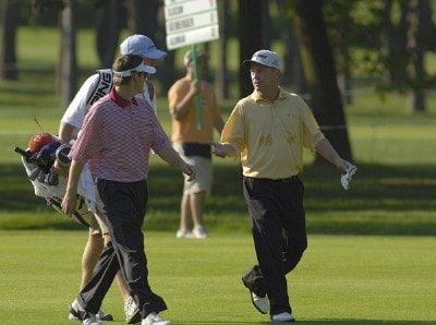 Heath Slocum and Jeff Sluman during the continuation of the first round of the U.S. Bank Championship in Milwaukee at Brown Deer Park Golf Course in Milwaukee, Wisconsin, on July 28, 2006.Photo by Steve Levin/WireImage.com
