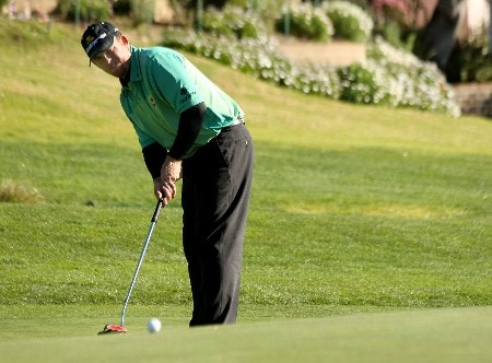 PEBBLE BEACH, CA  - FEBRUARY 03:  J.B. Holmes putts on the 14th hole during the second round of the AT&T Pebble Beach National Pro-Am on February 8, 2008 at Pebble Beach Golf Links in Pebble Beach. California.  (Photo by Stephen Dunn/Getty Images)