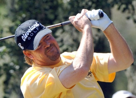 Steve Lowery tees off on the second hole  during the third round on the Copperhead Course of the 2005 Chrysler Championship October 29 in Palm Harbor, Florida.  Lowery and Carl Pettersson tied for the lead after three rounds.Photo by Al Messerschmidt/WireImage.com