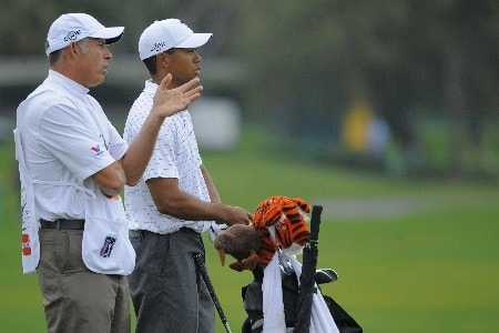 ORLANDO, FL - MARCH 14: Tiger Woods and his caddie, Steve Williams, discuss a shot on the sixth hole shot during the second round of the Arnold Palmer Invitational at Bay Hill Club and Lodge on March 14, 2008 in Orlando, Florida. (Photo by Scott A. Miller/Getty Images)