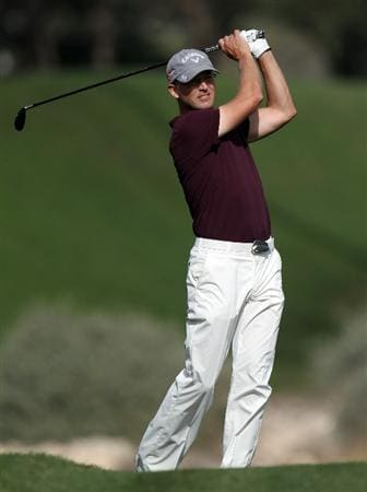 DOHA, QATAR - FEBRUARY 05:  Niclas Fasth of Sweden during the third round of the Commercialbank Qatar Masters at the Doha Golf Club on February 5, 2011 in Doha, Qatar.  (Photo by Ross Kinnaird/Getty Images)