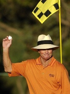 Tom Kite celebrates after holing-out from the 16th fairway during the first round of the Constellation Energy Senior Players Championship at Baltimore Country Club/Five Arms (East Course) on October 4, 2007 in Timonium, Maryland. Champions Tour - 2007 Constellation Energy Senior Players Championship - First RoundPhoto by Jonathan Ernst/WireImage.com
