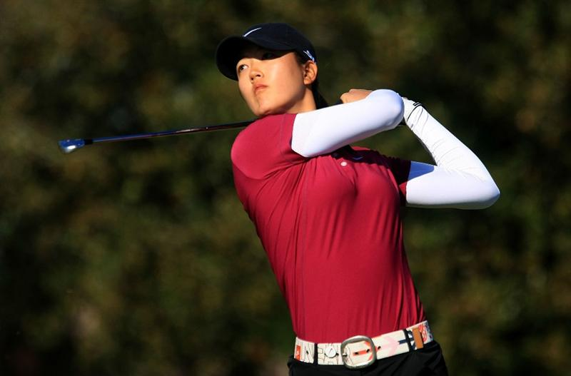 DAYTONA BEACH, FL - DECEMBER 07:  Michelle Wie hits her tee shot on the 17th hole during the final round of the LPGA Qualifying School at LPGA International on December 7, 2008 in Daytona Beach, Florida.  (Photo by Scott Halleran/Getty Images)