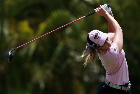 AVENTURA, FL - APRIL 27:  Paula Creamer follows her drive on the fourth hole during the final round of the Stanford International Pro-Am at Fairmont Turnberry Isle Resort & Club on April 27, 2008 in Aventura, Florida.  (Photo by Doug Benc/Getty Images)