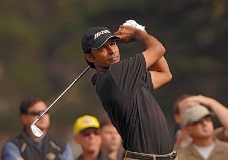 Jyoti Randhawa hitting off the third tee during the second round of The World Golf Championships 2005 American Express Championship at Harding Park Golf Club in San Francisco, California on October 7, 2005.Photo by Steve Grayson/WireImage.com