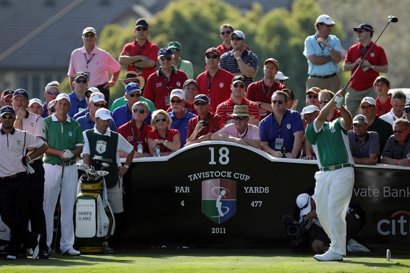 ORLANDO, FL - MARCH 14:  Darren Clarke of Northern Ireland and the Queenwood Club tees off at the 18th hole during the first day of the 2011 Tavistock Cup at Isleworth Golf Club on March 14, 2011 in Orlando, Florida.  (Photo by David Cannon/Getty Images)