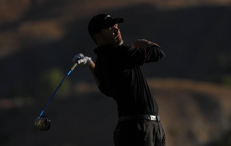 SAN JACINTO, CA - OCTOBER 02: Bryan DeCorso makes a tee shot during the second round of the 2009 Soboba Classic at The Country Club at Soboba Springs on October 2, 2009 in San Jacinto, California.  (Photo by Robert Laberge/Getty Images)