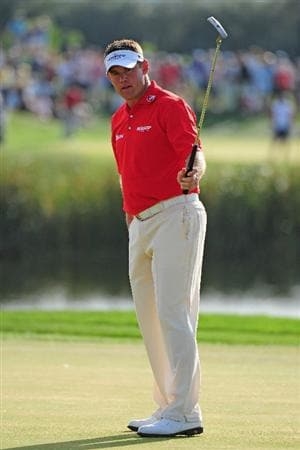 VILAMOURA, PORTUGAL - OCTOBER 18:  Lee Westwood of England reacts to his putt on the 13th hole during the final round of the Portugal Masters at the Oceanico Victoria Golf Course on October 18, 2009 in Vilamoura, Portugal.  (Photo by Stuart Franklin/Getty Images)