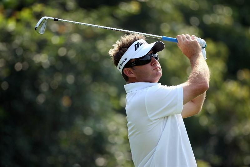 SHANGHAI, CHINA - NOVEMBER 06:  Brian Gay of USA hits his tee-shot on the fourth hole during the second round of the WGC-HSBC Champions at Sheshan International Golf Club on November 6, 2009 in Shanghai, China.  (Photo by Andrew Redington/Getty Images)
