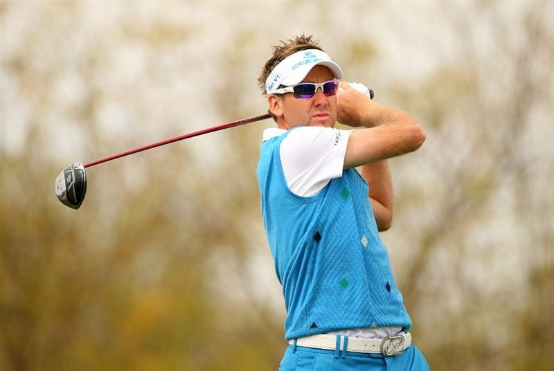 SCOTTSDALE, AZ - FEBRUARY 27: Ian Poulter of England hits his tee shot on the ninth hole during the third round of the Waste Management Phoenix Open at TPC Scottsdale on February 27, 2010 in Scottsdale, Arizona. (Photo by Hunter Martin/Getty Images)
