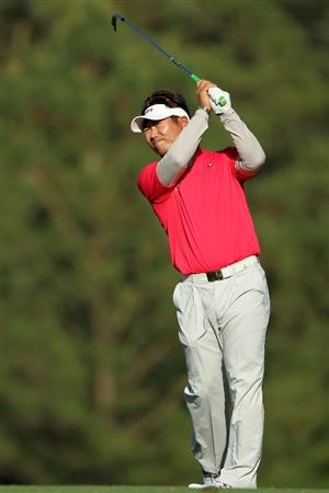 AUGUSTA, GA - APRIL 09:  Y.E. Yang of South Korea hits a shot during the second round of the 2010 Masters Tournament at Augusta National Golf Club on April 9, 2010 in Augusta, Georgia.  (Photo by Jamie Squire/Getty Images)
