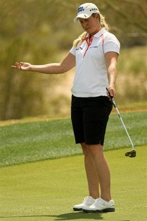 PHOENIX, AZ - MARCH 18:  Brittany Lincicome reacts to a putt on the 17th hole during the first round of the RR Donnelley LPGA Founders Cup at Wildfire Golf Club on March 18, 2011 in Phoenix, Arizona.  (Photo by Stephen Dunn/Getty Images)