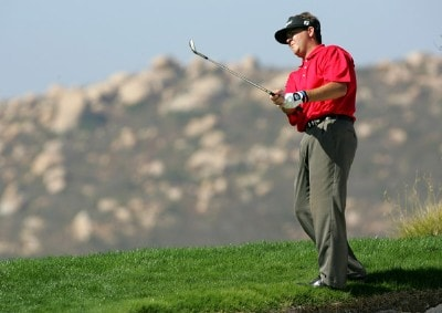 Hunter Haas watches his chip shot on the fourth hole during the second round of the Nationwide Championship at Barona Creek Golf Course November 2, 2007 in Lakeside, California. Nationwide Tour - 2007 Nationwide Tour Championship at Barona Creek - Second RoundPhoto by Kent Horner/WireImage.com