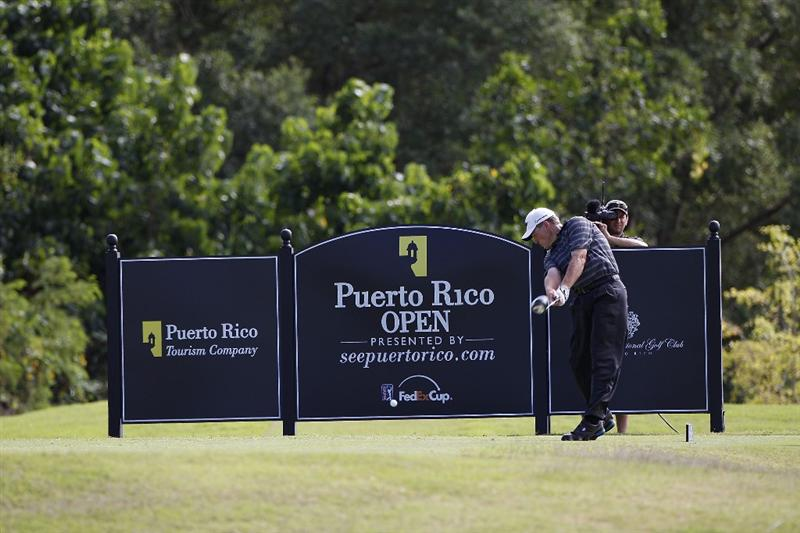 RIO GRANDE, PR - MARCH 13: Michael Bradley hits his drive on the 15th tee box during the final round of the Puerto Rico Open presented by seepuertorico.com at Trump International Golf Club on March 13, 2011 in Rio Grande, Puerto Rico.  (Photo by Michael Cohen/Getty Images)