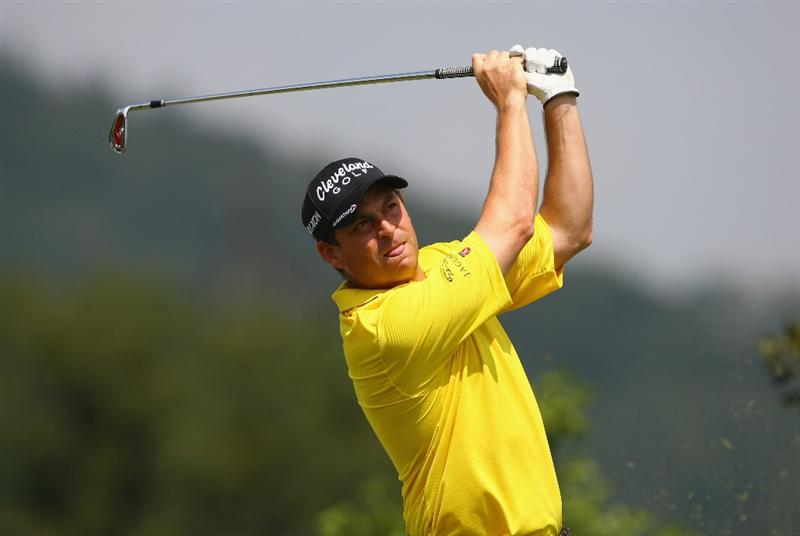 CELADNA, CZECH REPUBLIC - JULY 29:  David Howell of England in action in the Pro-Am tournament during previews for the Moravia Silesia Open Golf on July 29, 2009 in Celadna, Czech Republic.  (Photo by Julian Finney/Getty Images)