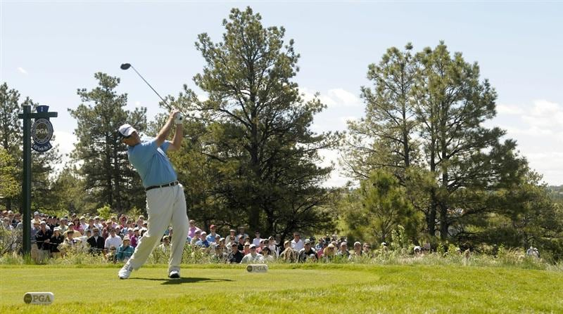 PARKER, CO. - MAY 30: Tom Lehman tees off the 1st hole during the fourth and final round of the Senior PGA Championship at the Colorado Golf Club on May 30, 2010 in Parker, Colorado.  (Photo by Marc Feldman/Getty Images)