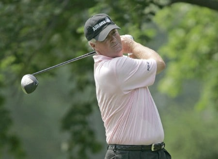 John Harris hits a drive on his way to a 66 during the first round of the 2005 Commerce Bank Championship at Eisenhower Park in East Meadow, New York on July 1, 2005.Photo by Michael Cohen/WireImage.com