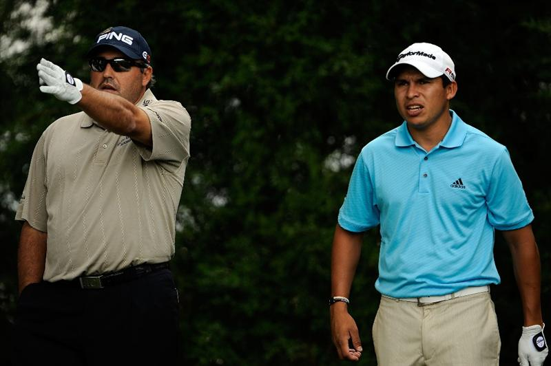 FARMINGDALE, NY - JUNE 16:  Angel Cabrera of Argentina and Andres Romero of Argentina look on during the second day of previews to the 109th U.S. Open on the Black Course at Bethpage State Park on June 16, 2009 in Farmingdale, New York.  (Photo by Sam Greenwood/Getty Images)