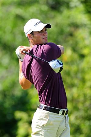 CHASKA, MN - AUGUST 14:  Martin Kaymer of Germany watches his tee shot on the tenth hole during the second round of the 91st PGA Championship at Hazeltine National Golf Club on August 14, 2009 in Chaska, Minnesota.  (Photo by Stuart Franklin/Getty Images)