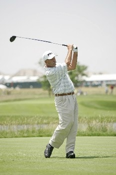 Mark James follows his tee shot during the final round of the Bayer Advantage Classic held at LionsGate Golf Course in Overland Park, KS, June 12, 2005.Photo by G. Newman Lowrance/WireImage.com