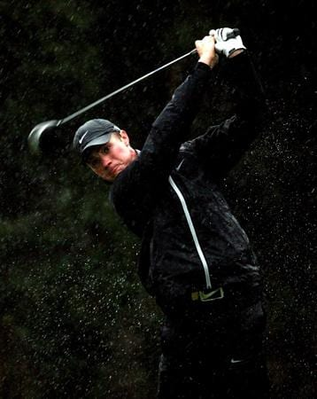 SOTOGRANDE, SPAIN - OCTOBER 31:  Oliver Fisher of England tees off on the par four 2nd hole during the second round of the Volvo Masters at the Valderrama Golf Club on October 31, 2008 in Sotogrande, Spain.  (Photo by Ross Kinnaird/Getty Images)